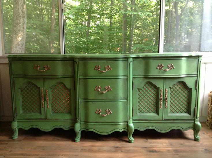 Antibes green, Annie Sloan chalk paint. Rub n buff on hardware