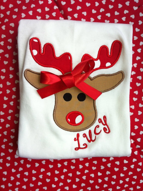 Personalized Applique Reindeer Shirt (Perfect Reindeer) Christmas Rudolph