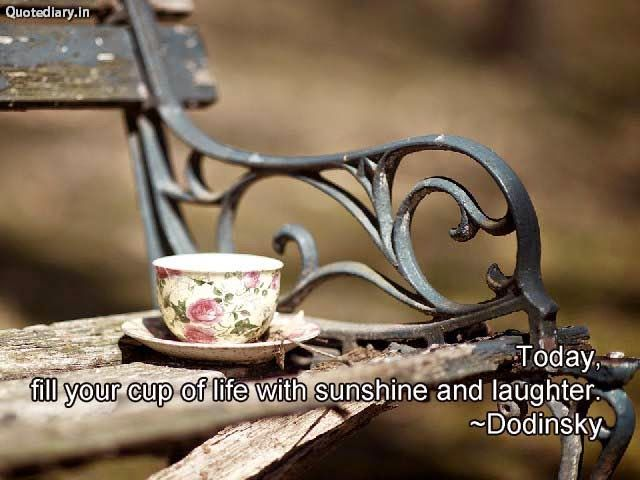 Today,fill your cup of life with sunshine and laughter.~Dodinsky