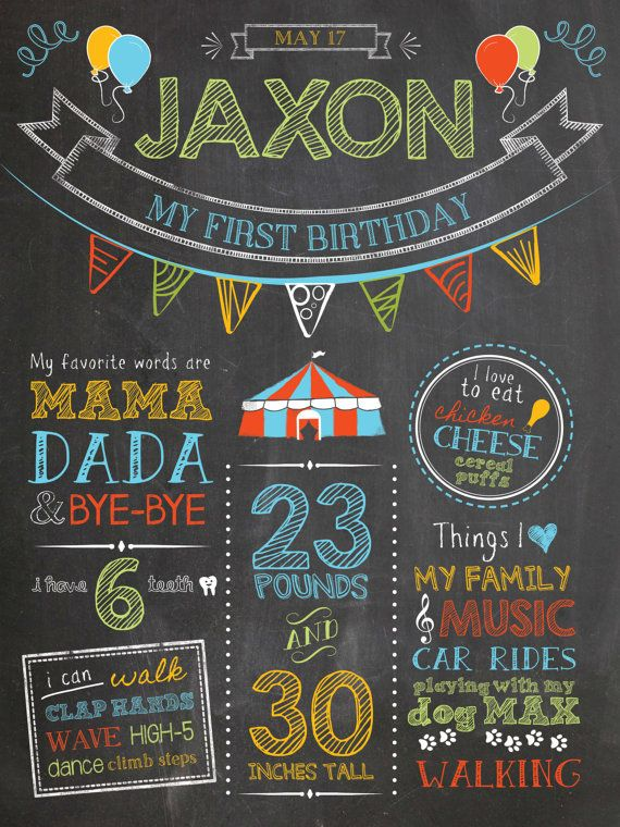 """Custom chalkboard style boy first birthday circus carnival poster. Digital file or 18 x 24"""" Printed on board, includes high res digital file. https://www.etsy.com/shop/ChalkDustDesign"""