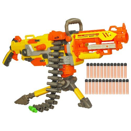 I want this...... Nerf Vulcan EBF-25: Fully Automatic Toy Dart Gun Rambo Junior's Weapon of Choice