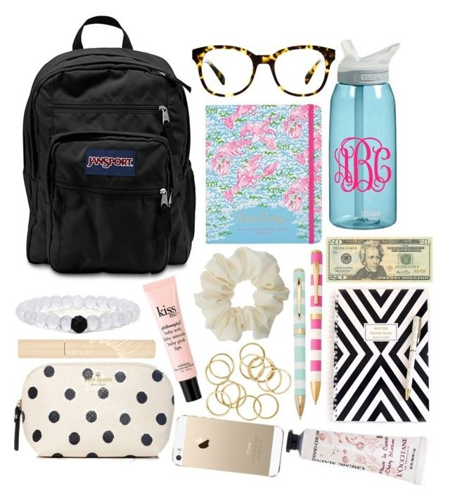 """""""what's in my bag(or what I want in there)!"""" by so-preppy ❤ liked on Polyvore featuring CamelBak, JanSport, OPTIONS, Warby Parker, Miss Selfridge, Lilly Pulitzer, Kate Spade, L'Occitane, philosophy and Stila"""