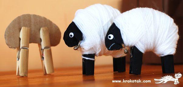Baa baa black sheep clothes-peg craft for kids