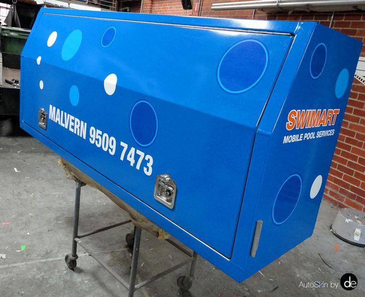 Wrapping a ute toolbox for Swimart Malvern. #utetoolboxwrap #AutoSkin #vehicleadvertising