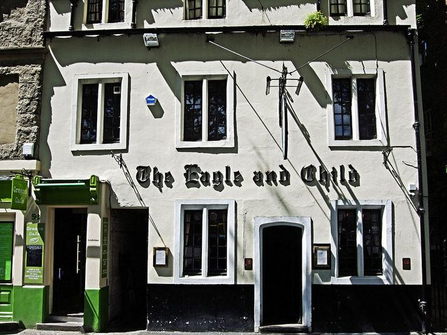 The Eagle and Child (Oxford, England) is a mid-17th century pub that served as the official meeting place of The Inklings writing group, whose members included J R R Tolkien and C S Lewis.