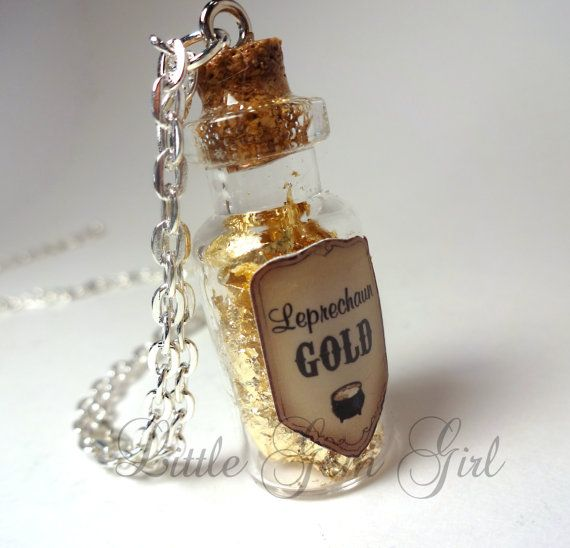 Leprechaun Gold  Glass Bottle Cork Necklace  Pot by LittleGemGirl, $19.00