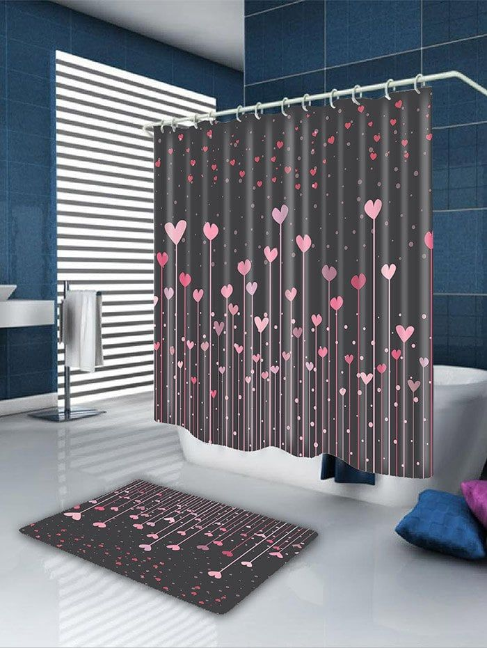 Waterproof Valentine S Day Hearts Printed Shower Curtain Pink