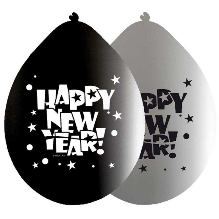 Happy new year ballonnen - zwart/wit 8 stuks.