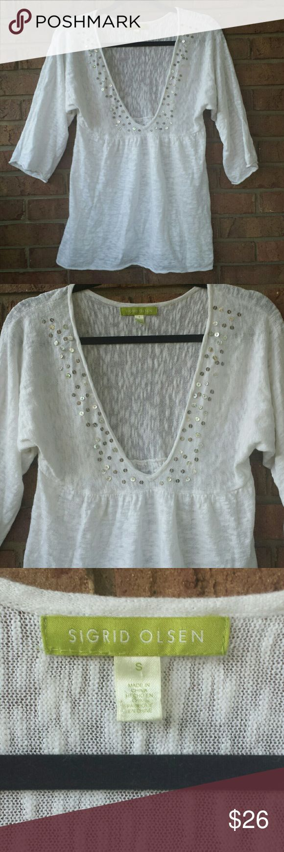 """Sigrid Olsen Chic White Tunic Top Coverup Sigrid Olsen White Tunic Top Coverup. Signature white sequin trim tunic top coverup. Approx: 17"""" armpit to armpit, 27"""" shoulder to hem. Light and airy. Utterly chic coverup for the pool or beach! Sigrid Olsen Swim Coverups"""