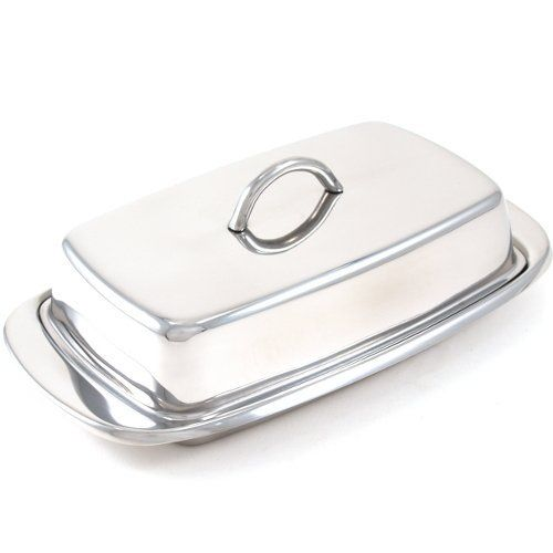 Fox Run Stainless Steel Butter Dish by Fox Run Craftsmen. $12.59. Stainless steel construction. Keeps your butter room temperature. Great addition for any kitchen. Butter Dish - stainless steel construction. Classic style. Capacity: 1-pound of butter. Overall dimensions: 2-1/4-inch H by 7.625-inch W by 4-inch D.