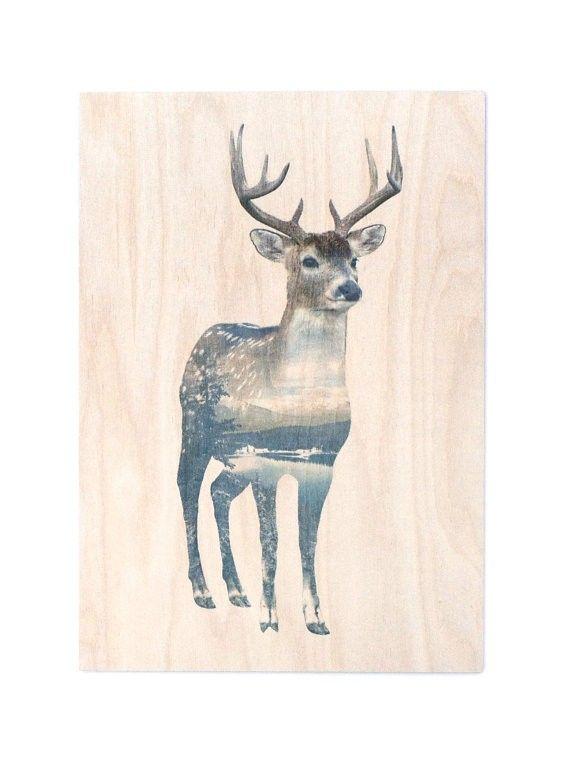 $145.00 Faunascape wood panel deer