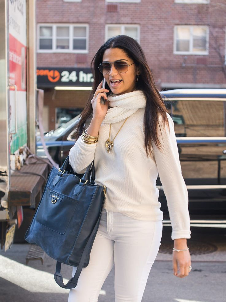 Camila Alves Wears Draper James Blue Suede Tote | POPSUGAR Latina