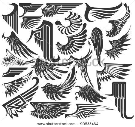 stock vector : Big Set sketches of wings http://www.shutterstock.com/similar-108258878/stock-vector-art-deco-eagle-motives.html#