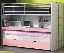 Etagenbett Bonny Kinderbett 3 Liegeflächen Bett Funktionsbett Hochbett Weiß / Ro