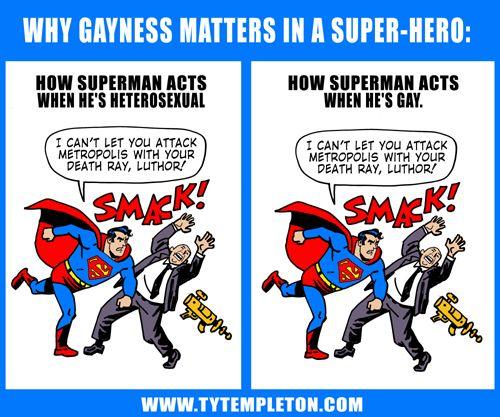 More genius from Ty Templeton: Gay Superhero, Book Art, Book Circles, Superman Writers, Comic Books, Anti Gay Remark, Superheroes, Gay Matter, Gay Comic