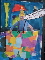Book of the week: Smarty Pants by Joy Cowley. We made our own collages of ourselves being Smarty Pants.