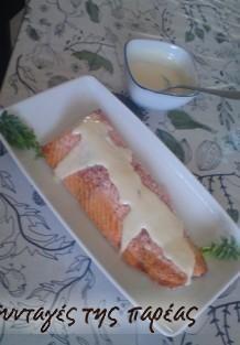 Σολομός στο φούρνο με πικάντικη σάλτσα λεμονιού #sintagespareas