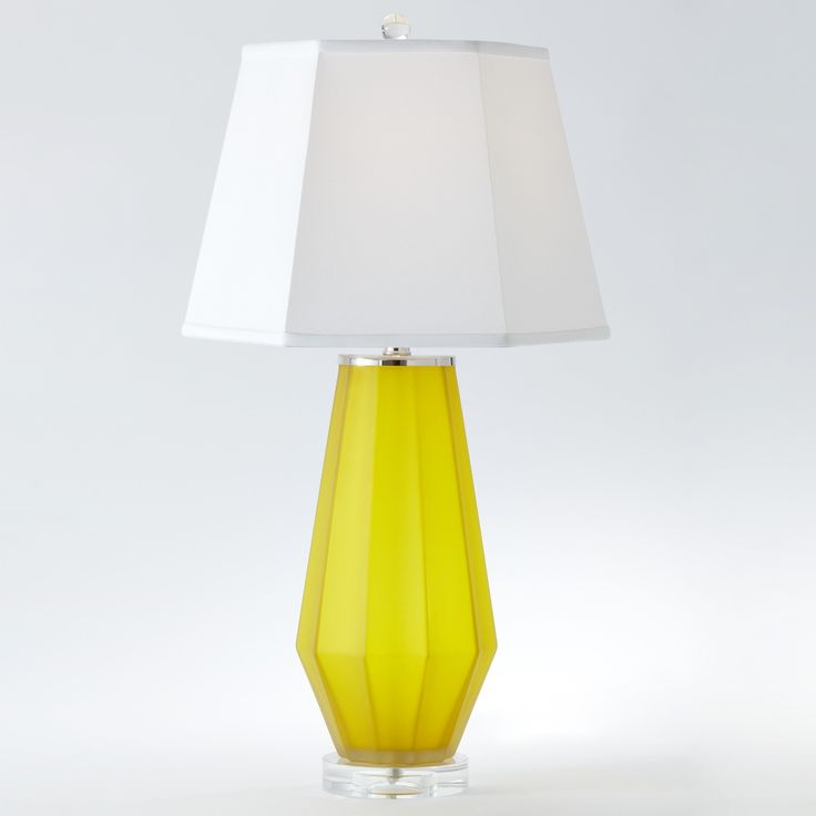 Fluted Urn Frosted Glass Contemporary Yellow Table Lamp by Global Views