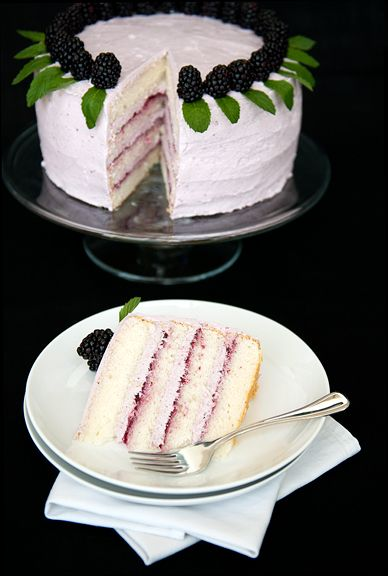 Raspberry & Blackberry Lemon Chiffon Cake! This is the cake I will make for our ward's RS party in March!!