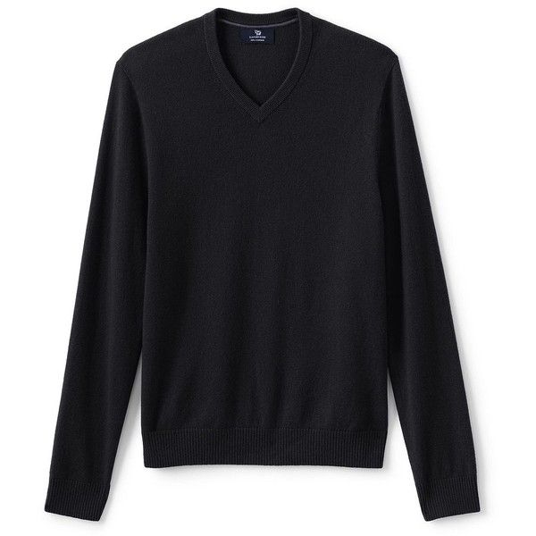 Lands' End Men's Tall Fine Gauge Cashmere V-neck Sweater (275 CAD) ❤ liked on Polyvore featuring men's fashion, men's clothing, men's sweaters, black, mens cashmere v neck sweater, mens v neck sweater, lands end mens sweaters, mens v-neck cashmere sweaters and mens tall sweaters