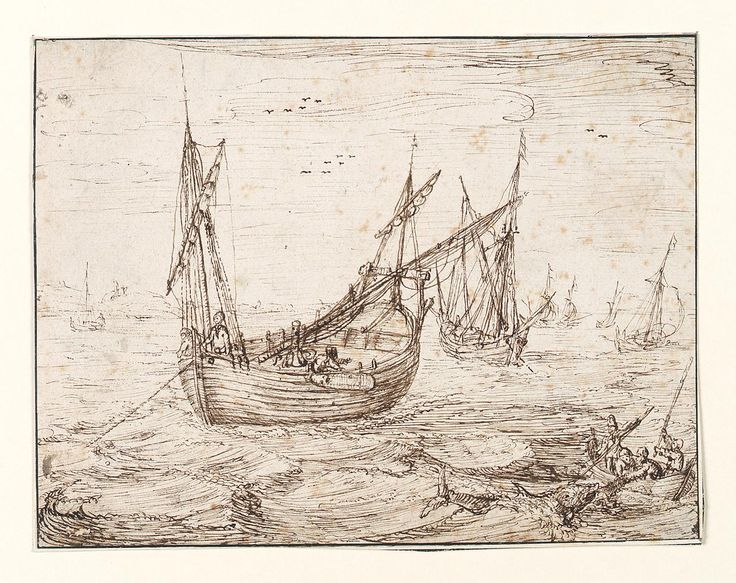 A Herring Buss catching a large fish, circa 1600 - circa 1600 Artist/Maker 	Vroom, Hendrick Cornelisz 	pen & ink, brown