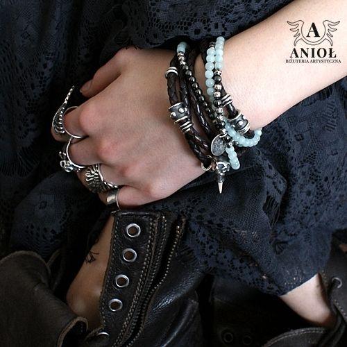 Rocket Queen  -bransoleta / Anioł / Biżuteria / Bransolety bransoleta, srebro, bransoleta skórzana, srebrna biżuteria, vintage, rzemień pleciony, rockowe bransolety, czaszka, gotycka bransoleta, krzyż maltański
