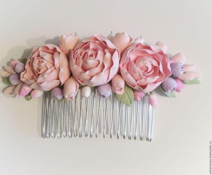 Купить Свадебный гребень для волос с пионами из полимерной глины - бледно-розовый, розовый, зеленый цвет