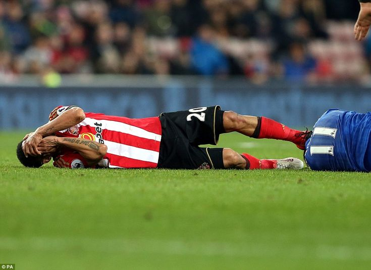 Steven Pienaar clashed heads with Marc Albrighton and both players clutched their faces in pain after the incident
