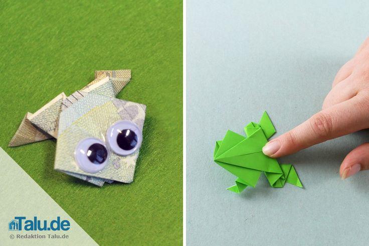 Hier lernen Sie, wie Sie einen Origami Frosch falten - diese Anleitung verrät Ihnen, wie Sie die kleinen Hüpfer blitzschnell aus Papier/Geldschein basteln.
