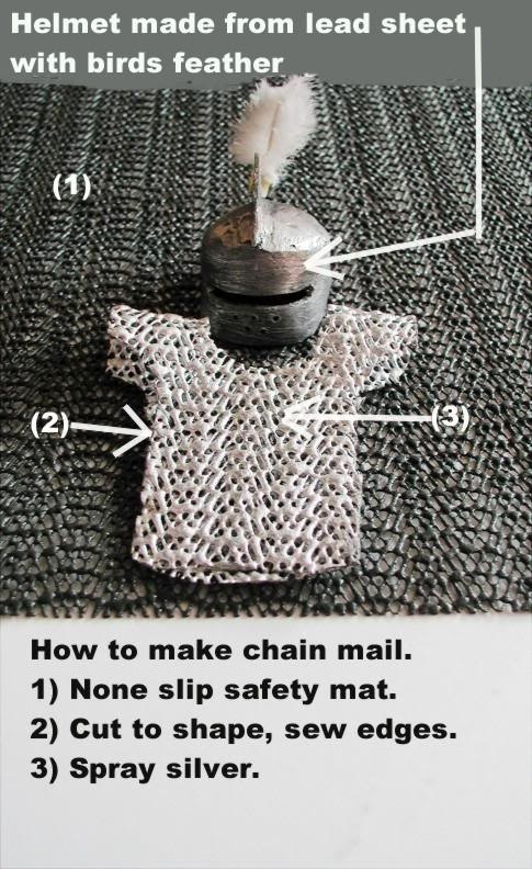 makin' chain mail for Barbie's knight in shining armor... however, I'm thinking that a sheet of fimo (or such) would be so much better for making the helmet than LEAD SHEET!!!