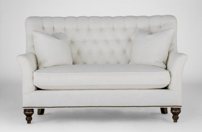 Abbey #Tufted Settee Sofa | French loveseat | Gabby Tailored SCH-619 W 64 D 37 H 40 SH 18.5 AH 26 Turned Legs #5Foot