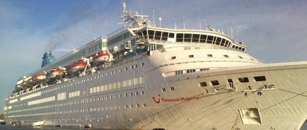 """Thomson Majesty"" cruise ship at the port of Souda, due to bad weather 