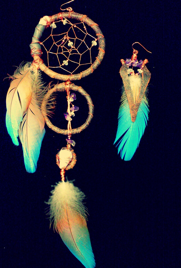 V I O L E T A           long leather feather dreamcatcher earrings with moonstone, blue lace agate and amethyst. $104.00, via Etsy.