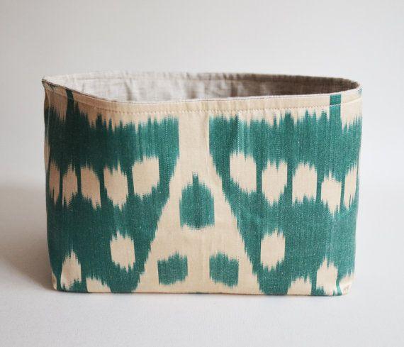 Sukan / 1 Organic Silk ikat Tea Green, Raw Pure Linen Storage Organization - Organizer Container Basket Bin - Custom Basket Bin
