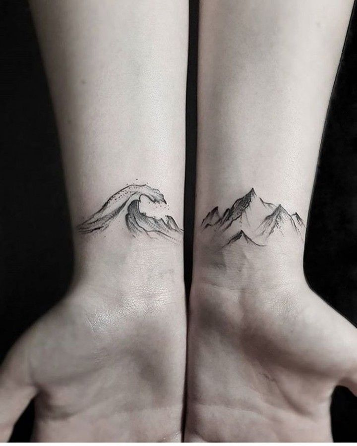 20 MATCHING TATTOO IDEAS FOR SISTERS To Create A Lasting Bond wave-and-mountain-tattoo-by-stellatxttoo