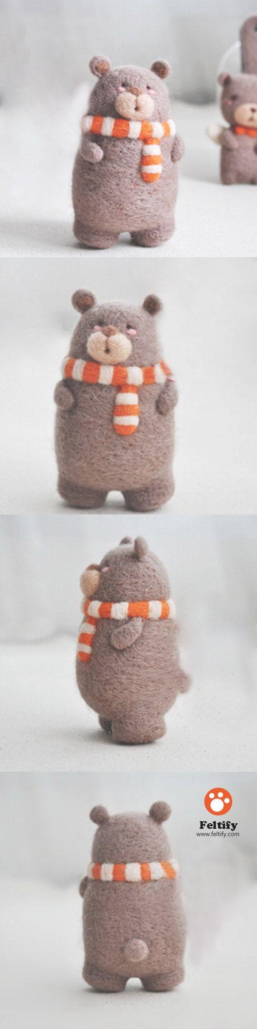 Handmade needle felted felting cute animal project bear with scarf felt doll