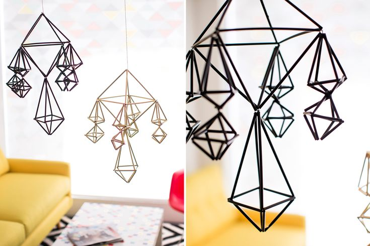 How to Repurpose Straws to Make Modern Geometric Mobiles via Brit   Co
