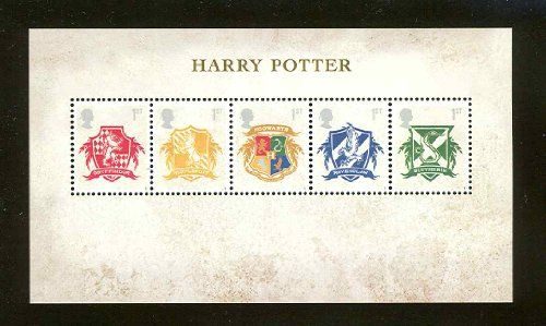 Harry Potter – Hogwarts Crests Postage Stamps Sheet issued by UK in 2007 by Royal Mail UK.