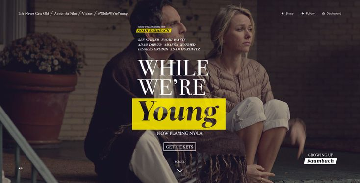 While We're Young film website #experience #layout #typography