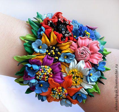 """Браслет """"Яркий букетик"""" - цветы из кожи,браслет с цветами,браслет из кожи"""