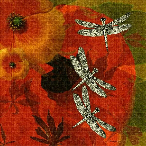 """A SmudgeArt contemporary hand drawn and digital oil painted floral design """"Cali Orange"""""""