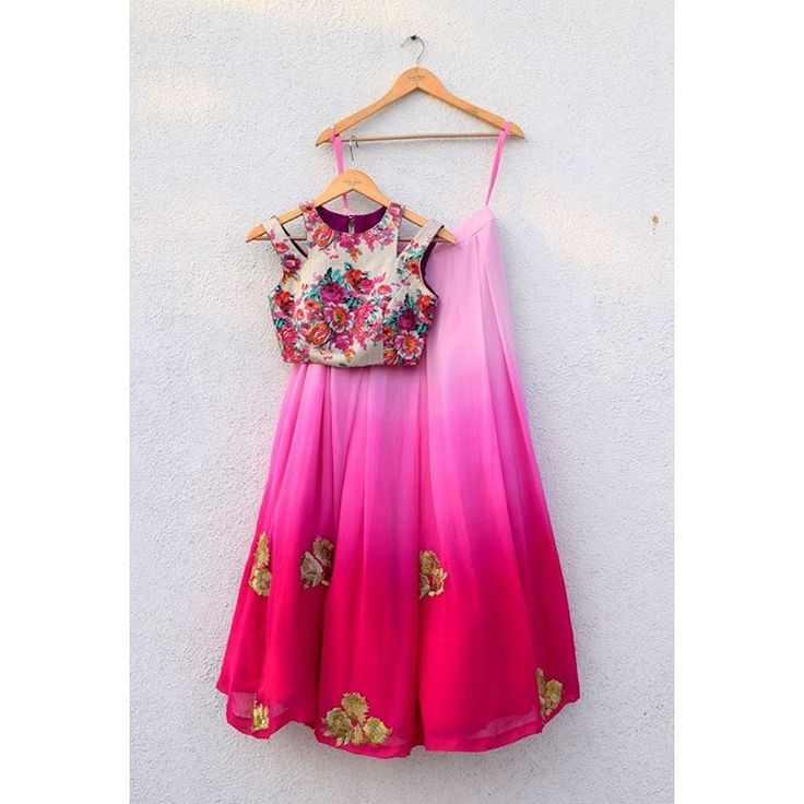 It's Summer Wedding and all we can think of how to beat this scorching sun! Opt for this colourful floral crop top and ombré lehenga perfect for a day wedding or mehendi function! #labelanishashetty #anishashetty #anishashettycouture #lehenga #croptop #floralcroptop #ombre #ombreskirt #couture #indowestern #weddingwear #summerwedding #indianfashiondesigner #fashionista To customise mail us on anishashettyclothing@gmail.com