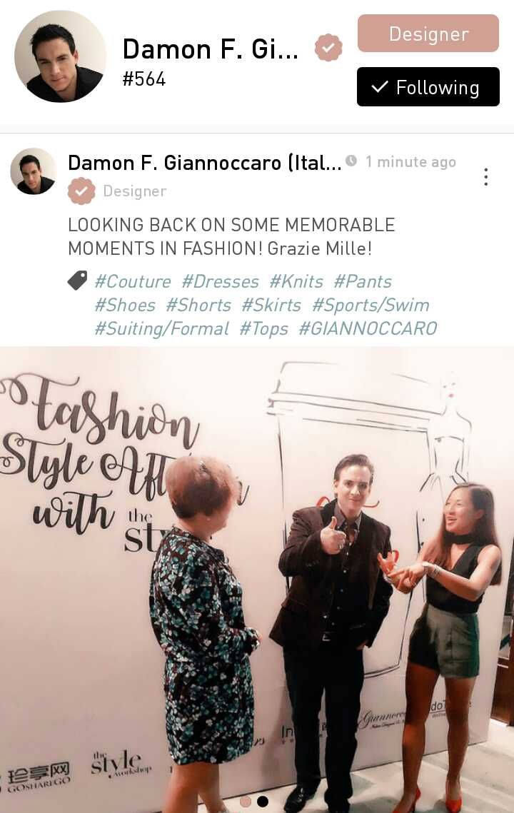 Damon F. Giannoccaro an Italian designer , a luxury brand owner, fashion designer, shoes and handbag designer, senior lecturer at Istituto Marangoni, and owner of a luxury apparel factory.  Based in Shenzhen, China.