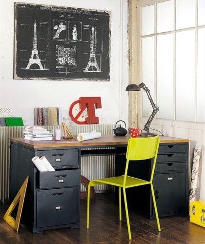 coin bureau style hipster industriel atelier loft bureau en métal caisson casier et chaise jaune citron pop déco