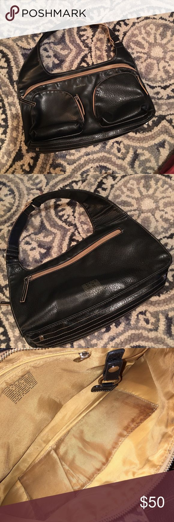 ❗️SALE❗️matt and nat shoulder bag lovely black matt and nat vegan leather shoulder bag. one large/main zippered area with two (interior) pockets + one zippered pocket, two exterior zippered pockets (perfect  for keys, iphone 6S+ will need to go inside or in back pocket!), as well as a zippered exterior pocket on the back. has the key ring inside. no tears. no ink marks. one spot on INTERIOR pocket (pic 3), doesn't alter the look/function. smoke free home. please no trades. *throwing in…