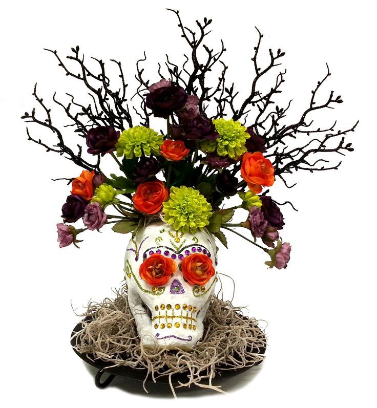 Paper Mache Sugar Skull Arrangement #halloween #craft