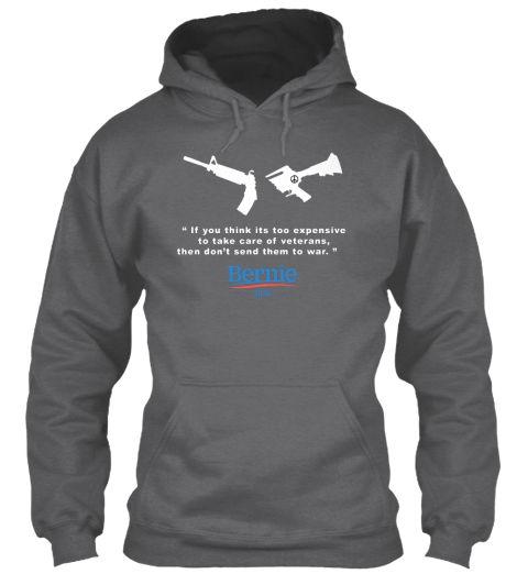 Peace Bernie Dark Heather T-Shirt Front