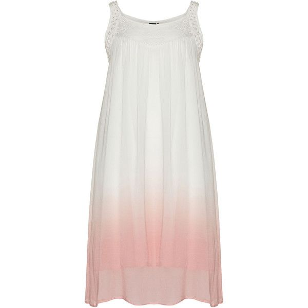 Adia Cream / Pink Plus Size Ombre effect summer dress ($105) ❤ liked on Polyvore featuring dresses, plus size, cream, flare dress, sleeveless summer dresses, women's plus size dresses, midi flare dress and summer dresses