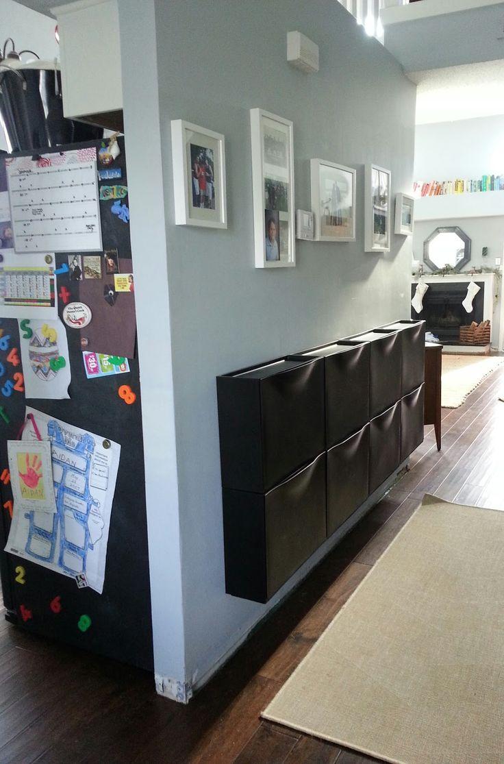 shoe bins on wall!