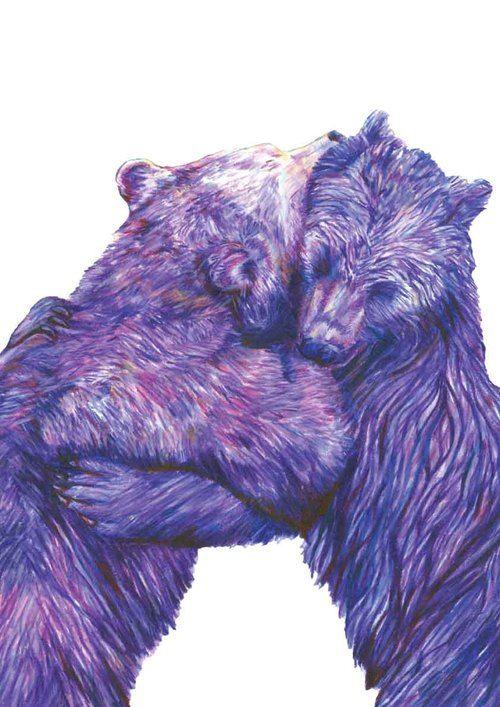 Bear Hug Illustration by Claudine O'Sullivan. Signed Gesson Print to buy from JamArtPrints.com #jamartfactory #jamartprints #irishdesign